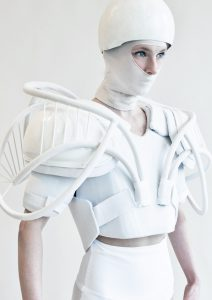 A female warrior with a white robotic outfit