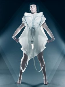 A science fiction looking silk dress with a steel construction underneith