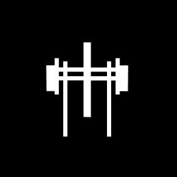White logotype of a cross
