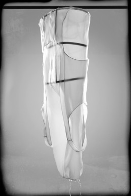 A sheer transparent dress with a steel construction inside